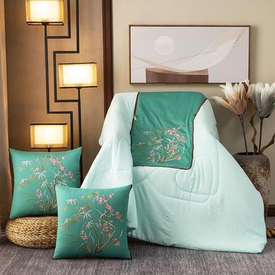 2020新款-輕奢中國風新中式古典刺繡60支全棉貢緞抱枕被 中號折起42*42 展開120*160 水仙頌-綠