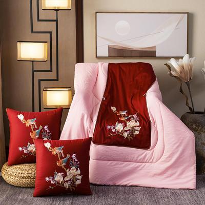 2020新款-輕奢中國風新中式古典刺繡60支全棉貢緞抱枕被 中號折起42*42 展開120*160 喜上眉梢