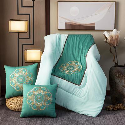 2020新款-輕奢中國風新中式古典刺繡60支全棉貢緞抱枕被 中號折起42*42 展開120*160 紫荊花開