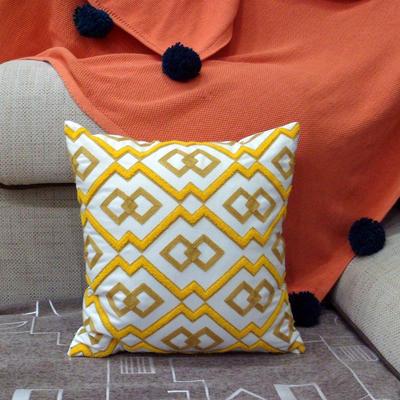 2020新品-復合毛巾繡抱枕靠墊 45*45cm不含芯 維納斯-黃