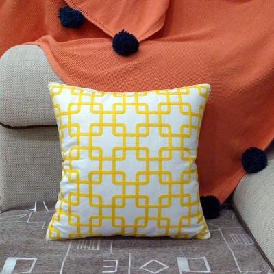 2020新款-全棉帆布简约风毛巾绣抱枕靠垫 45*45cm(含无纺布芯) DS (18)