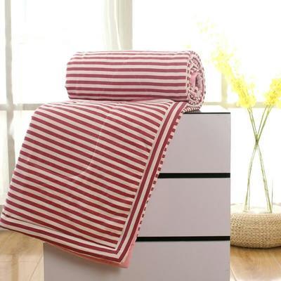 2020无印风水洗棉夏被空调被 200X230cm 红条纹