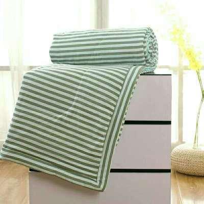 2020无印风水洗棉夏被空调被 200X230cm 绿条纹