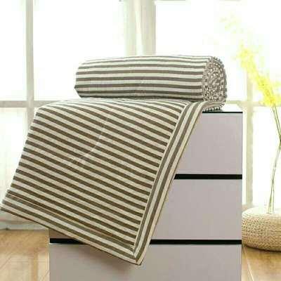2020无印风水洗棉夏被空调被 200X230cm 咖条纹
