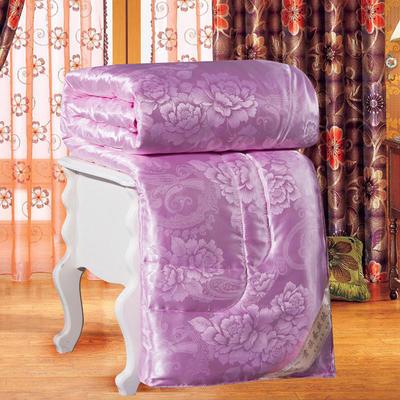 2020新款牡丹花贡缎提花蚕丝被夏被空调被春秋被加厚冬被 150x200cm4斤 粉色
