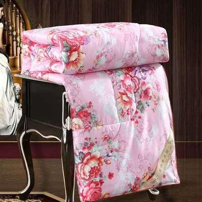 2020新款丝绸印花蚕丝被春秋被夏被冬被 150x200cm夏被 国色天香-粉