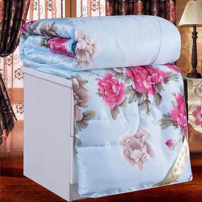 2020新款丝绸印花蚕丝被春秋被夏被冬被 150x200cm夏被 牡丹-蓝