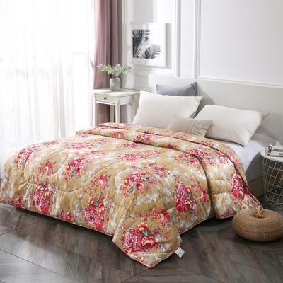 2020新款丝绸印花牡丹花蚕丝被春秋被夏被加厚冬被 150x200cm4斤 国色天香-金