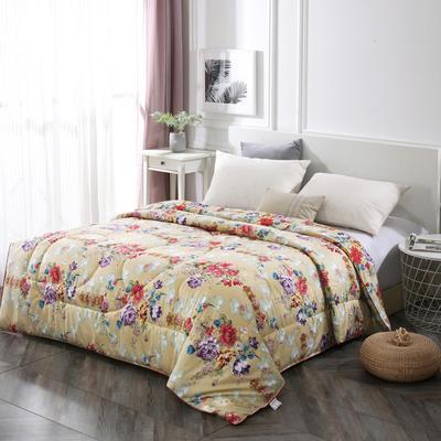 2020新款丝绸印花牡丹花蚕丝被春秋被夏被加厚冬被 150x200cm4斤 一米阳光