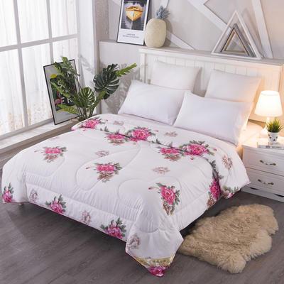 2020新款丝绸印花牡丹花蚕丝被春秋被夏被加厚冬被 150x200cm4斤 牡丹-米白