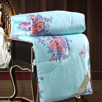 2020新款牡丹花丝绸印花蚕丝被春秋被夏被冬被 150x200cm夏被 国色天香-兰