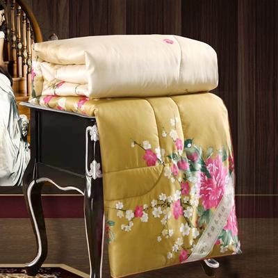 2020新款牡丹花丝绸印花蚕丝被春秋被夏被冬被 150x200cm4斤 江南春晓
