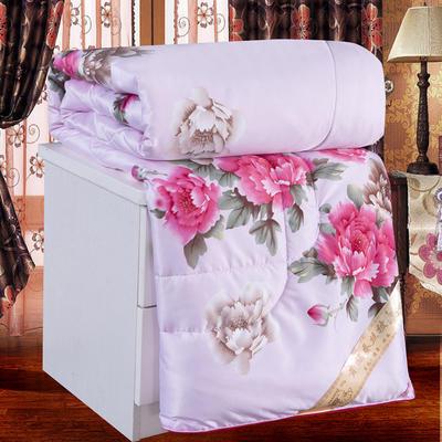 2020新款牡丹花丝绸印花蚕丝被春秋被夏被冬被 150x200cm4斤 牡丹-粉