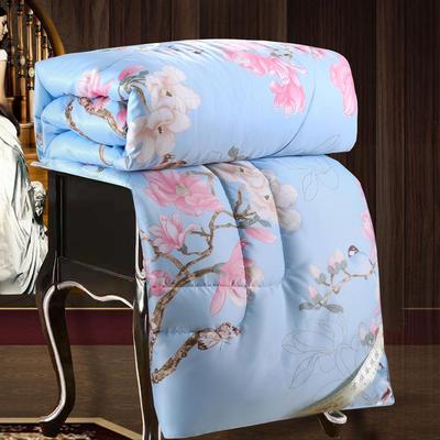 2020新款牡丹花丝绸印花蚕丝被春秋被夏被冬被 150x200cm4斤 鸟语花香-蓝