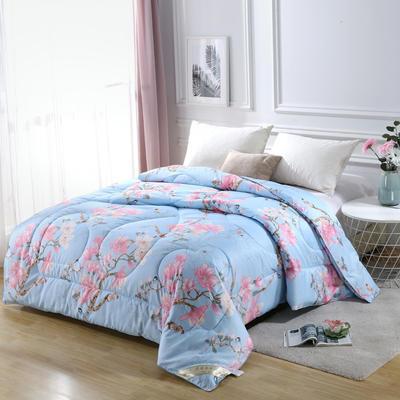 2020新款丝绸印花牡丹花蚕丝被春秋被夏被加厚冬被 150x200cm4斤 鸟语花香-蓝
