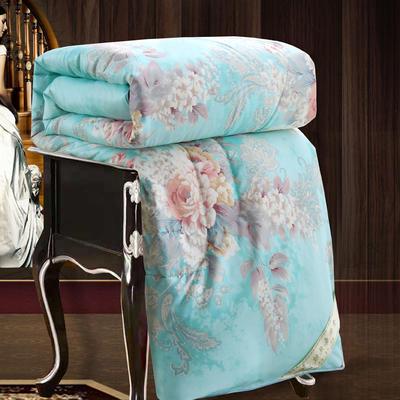 2020新款牡丹花丝绸印花蚕丝被春秋被夏被冬被 150x200cm4斤 虞美人