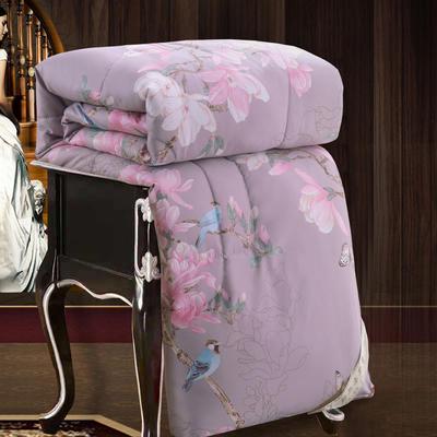 2020新款牡丹花丝绸印花蚕丝被春秋被夏被冬被 150x200cm4斤 鸟语花香-紫