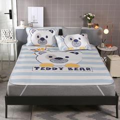 2018新款 大版数码印花冰丝凉席(风格二) 1.8m(三件套) 泰迪熊-蓝
