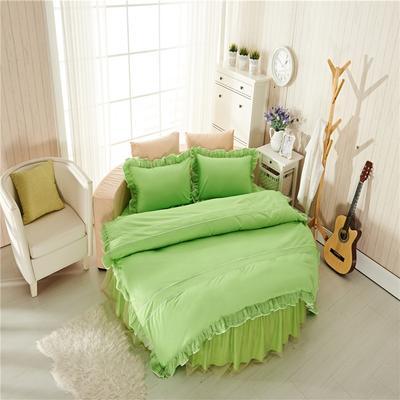 圆床系列-床笠款/床裙款四件套 枕套一对(48*74cm) 草绿