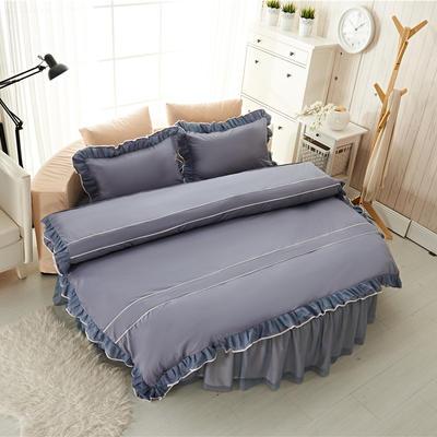 圆床系列-床笠款/床裙款四件套 被套(200*230cm) 灰色