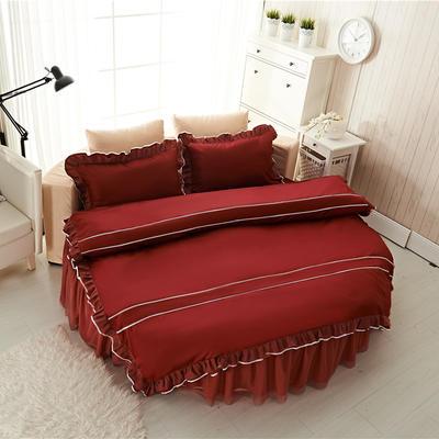 圆床系列-床笠款/床裙款四件套 被套(200*230cm) 酒红