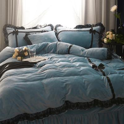 韩版水晶绒--遇见 2.0m(6.6英尺)床 蓝灰