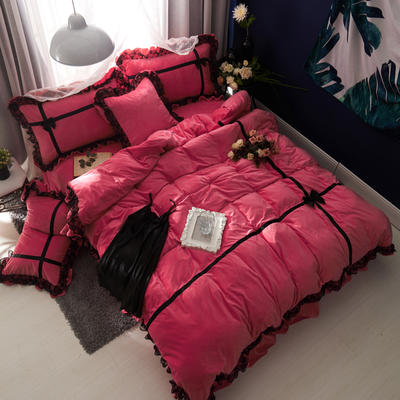 韩版水晶绒--遇见 2.0m(6.6英尺)床 玫红