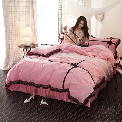 水晶绒—遇见(模特图) 2.0m(6.6英尺)床 遇见--粉色
