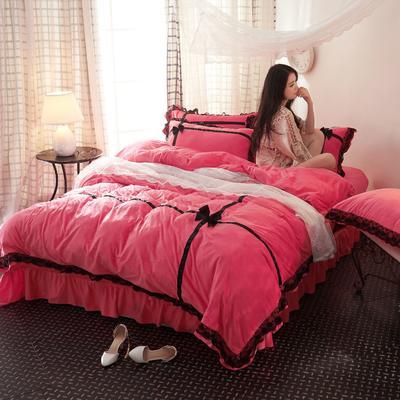 水晶绒—遇见(模特图) 2.0m(6.6英尺)床 遇见--玫红