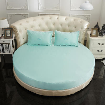 2018新款水洗真丝+纯棉圆床单层床笠 直径2米2 天蓝