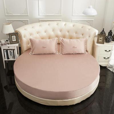2018新款水洗真丝+纯棉圆床单层床笠 直径2米2 驼色