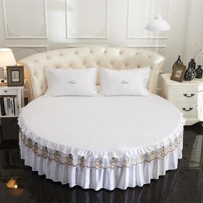 2021新款水洗真丝+纯棉圆床单层床裙 直径2米2 白色