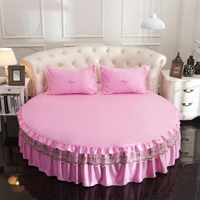 2021新款水洗真丝+纯棉圆床单层床裙 直径2米2 粉色