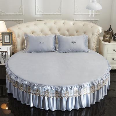 2021新款水洗真丝+纯棉圆床单层床裙 直径2米2 灰色