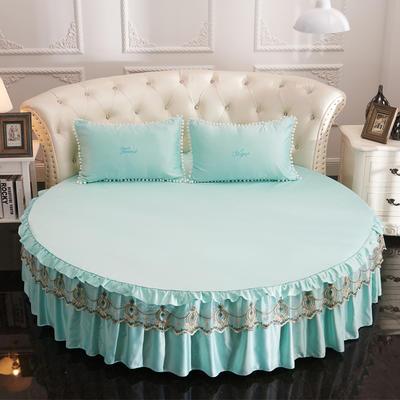 2021新款水洗真丝+纯棉圆床单层床裙 直径2米2 天蓝