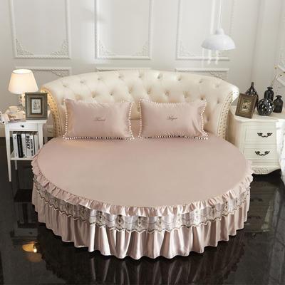 2018新款水洗真丝+纯棉圆床单层床裙 直径2米2 驼色