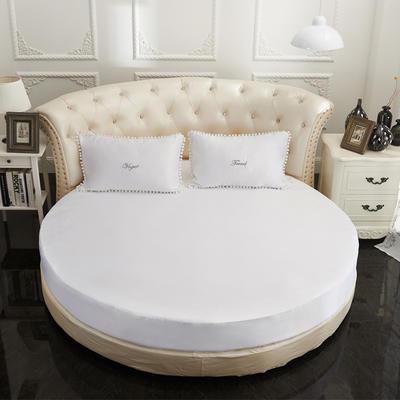 2018新款水洗真丝+纯棉圆床单层床笠 直径2米2 白色