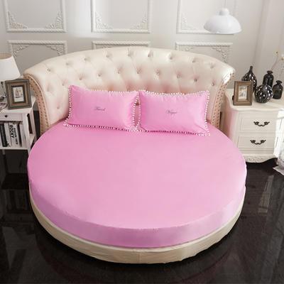 2018新款水洗真丝+纯棉圆床单层床笠 直径2米2 粉色