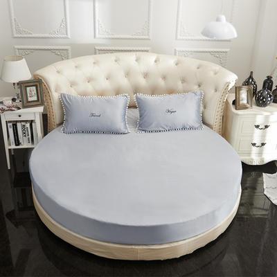 2018新款水洗真丝+纯棉圆床单层床笠 直径2米2 灰色