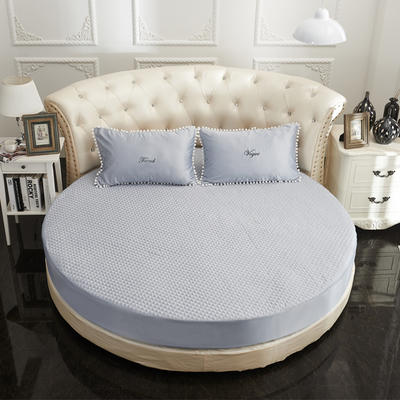 2021新款水洗真丝+纯棉圆床加棉床笠 直径2米2 灰色