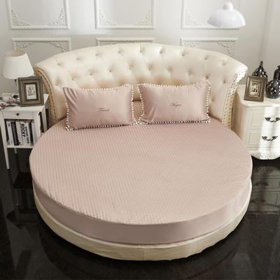 2021新款水洗真丝+纯棉圆床加棉床笠 直径2米2 驼色