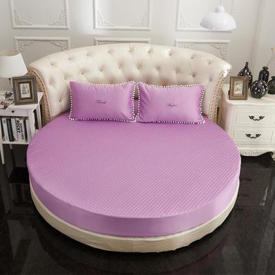 2021新款水洗真丝+纯棉圆床加棉床笠 直径2米2 紫色