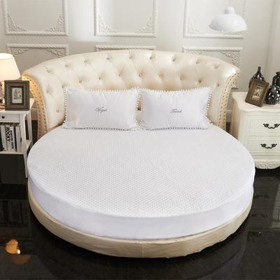 2021新款水洗真丝+纯棉圆床加棉床笠 直径2米2 白色