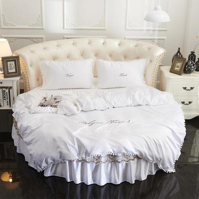 2018新款水洗真丝+纯棉圆床单层被套 200X230cm 白色