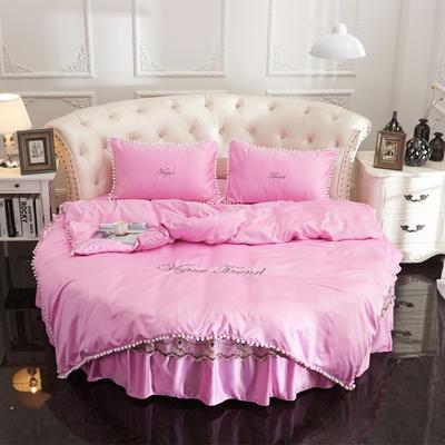 2018新款水洗真丝+纯棉圆床单层被套 200X230cm 粉色