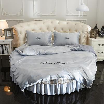 2018新款水洗真丝+纯棉圆床单层被套 200X230cm 灰色