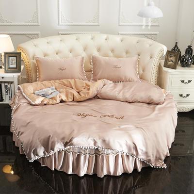 2018新款水洗真丝+纯棉圆床单层被套 200X230cm 驼色