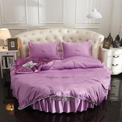 2018新款水洗真丝+纯棉圆床单层被套 200X230cm 紫色