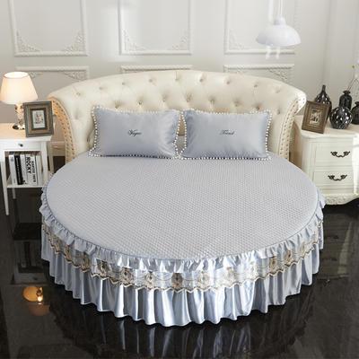 2021新款水洗真丝+纯棉圆床加棉床裙 直径2米2 灰色