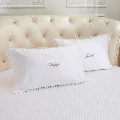 2018新款水洗真丝+纯棉圆床系列单层枕套 48cmx74cm(对) 白色